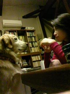 おやつを食べている私の目の前で、くれるのをじっと待つエレナ
