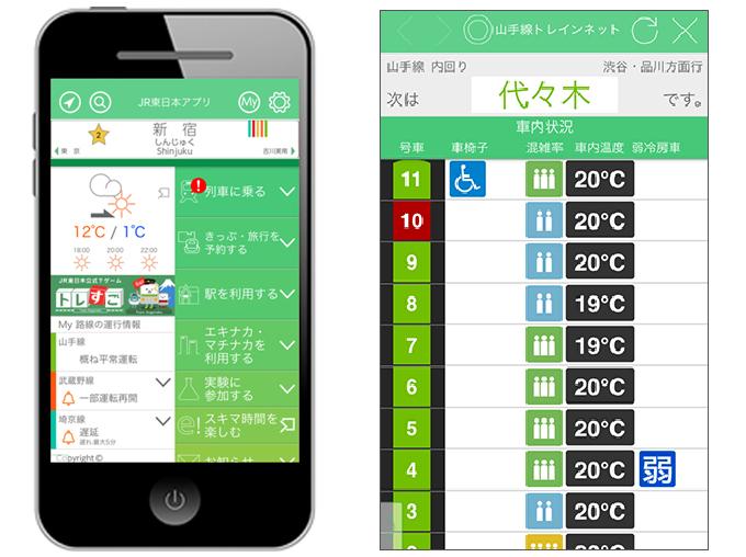 JR東日本アプリ JR東日本HPより