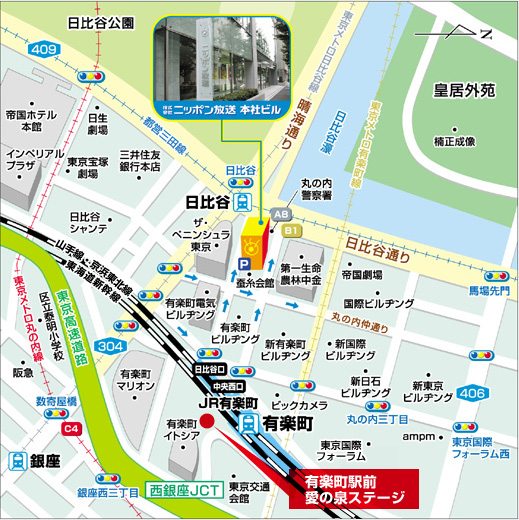 ニッポン放送本社ビル 近隣地図 煙山光紀アナ、洗川雄司アナ、箱崎みどりアナ
