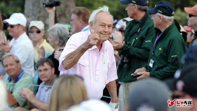 米男子ゴルフ・2014マスターズ パー3コンテストで観客の声援に応えるアーノルド・パーマー