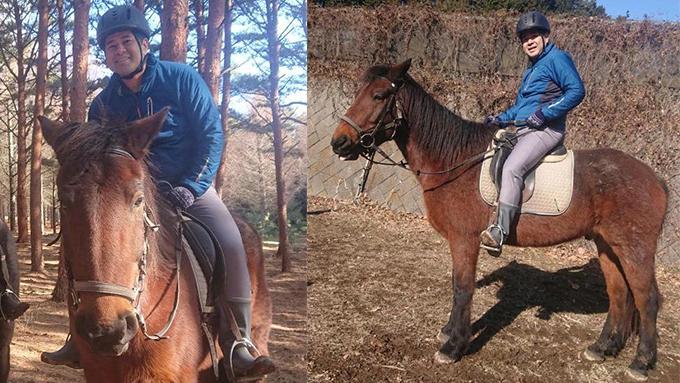 年男、馬に乗る