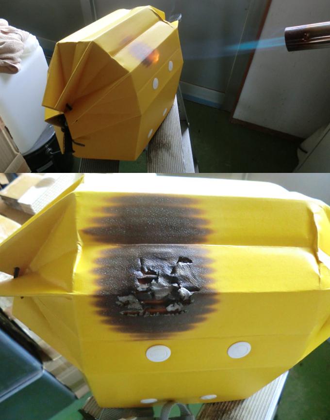 1300℃のバーナーで燃焼しても燃え広がらない