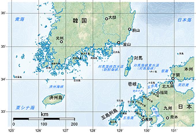 対馬 海峡 地図