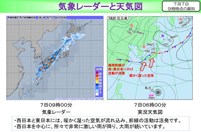 7月7日 午前6時 実況 天気図 気象庁 資料