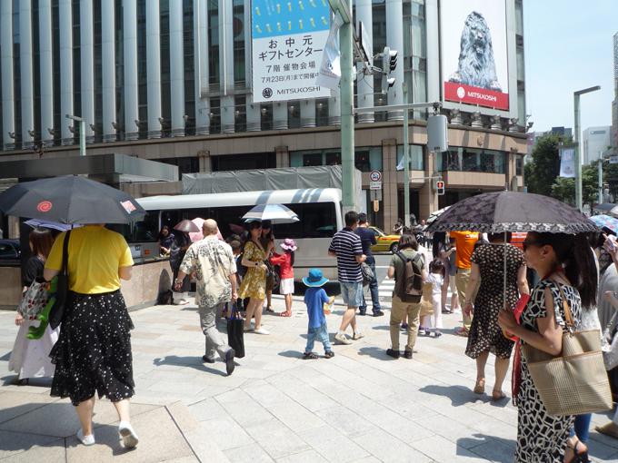 東京 銀座 四丁目 交差点 厳しい 暑さ
