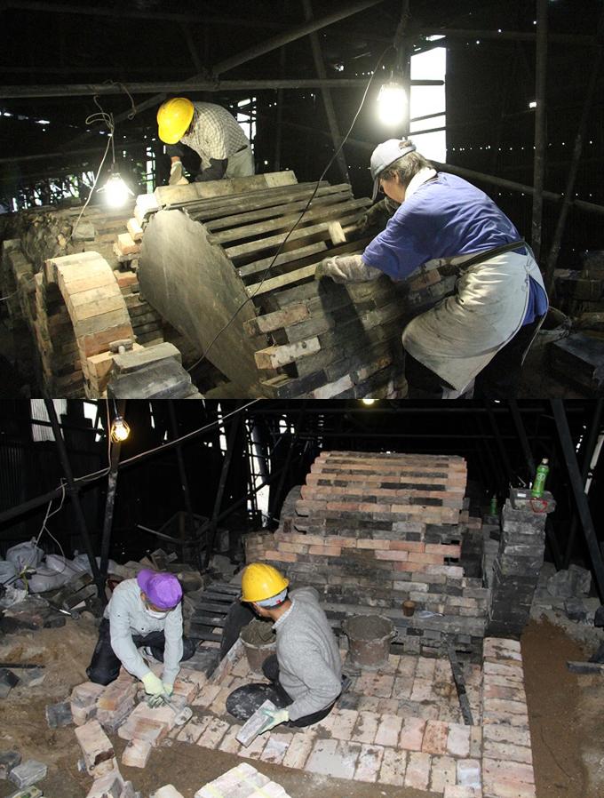 築釜 作業 釜 床張り 建設途中 今井 理桂