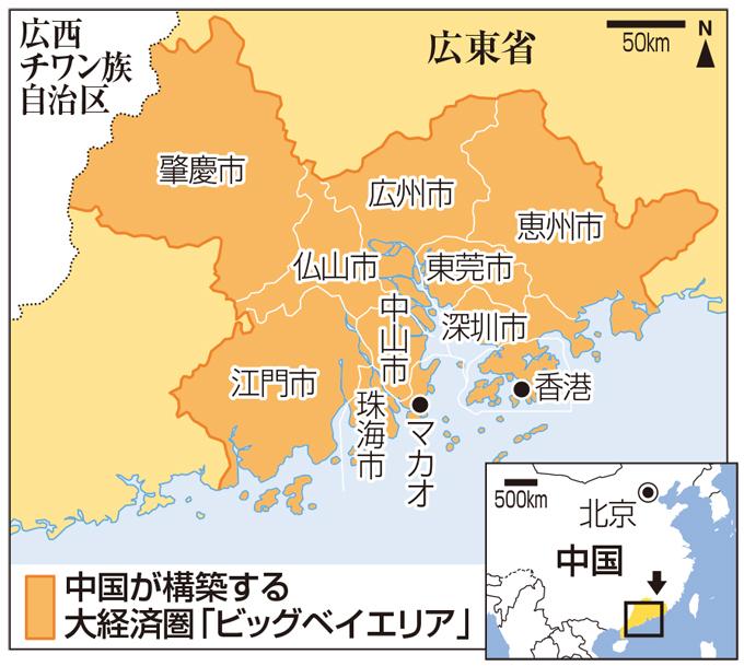 ビッグベイエリア 中国 香港 マカオ 大経済圏 構想 一国二制度 返還 50年間 2047年