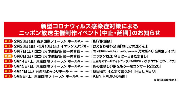 ニッポン放送主催制作イベントに関する大事なお知らせ